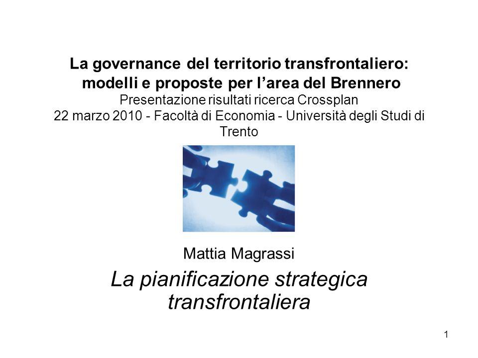 1 La governance del territorio transfrontaliero: modelli e proposte per larea del Brennero Presentazione risultati ricerca Crossplan 22 marzo 2010 - F