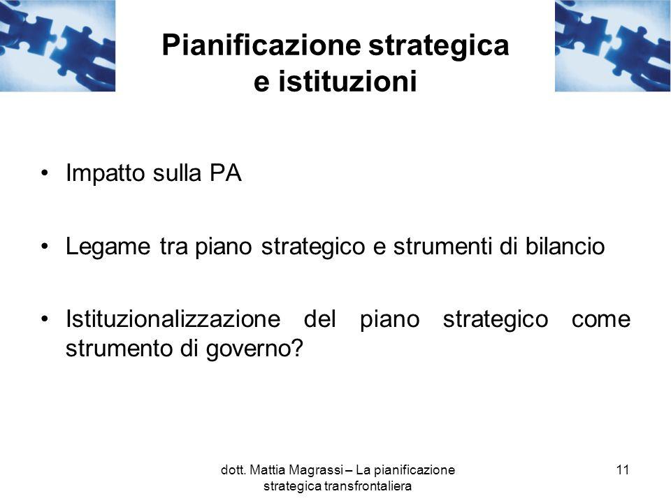 11 Pianificazione strategica e istituzioni Impatto sulla PA Legame tra piano strategico e strumenti di bilancio Istituzionalizzazione del piano strategico come strumento di governo.