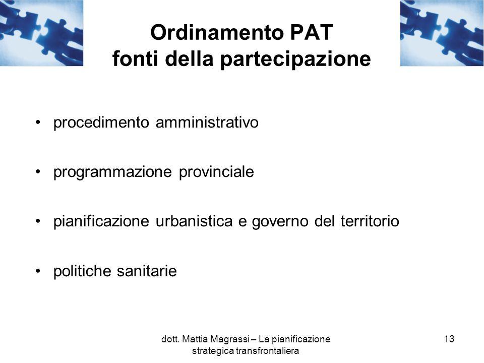 13 Ordinamento PAT fonti della partecipazione procedimento amministrativo programmazione provinciale pianificazione urbanistica e governo del territorio politiche sanitarie dott.