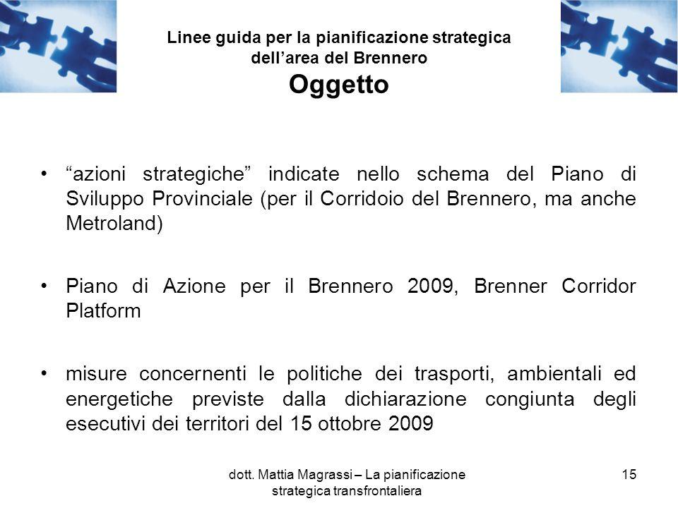 15 Linee guida per la pianificazione strategica dellarea del Brennero Oggetto azioni strategiche indicate nello schema del Piano di Sviluppo Provincia