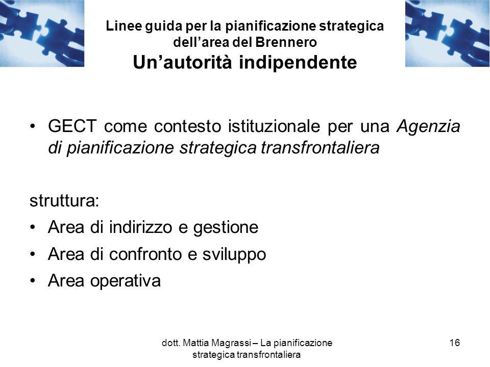 16 Linee guida per la pianificazione strategica dellarea del Brennero Unautorità indipendente GECT come contesto istituzionale per una Agenzia di pianificazione strategica transfrontaliera struttura: Area di indirizzo e gestione Area di confronto e sviluppo Area operativa dott.