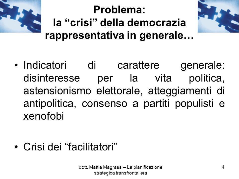 4 Problema: la crisi della democrazia rappresentativa in generale… Indicatori di carattere generale: disinteresse per la vita politica, astensionismo elettorale, atteggiamenti di antipolitica, consenso a partiti populisti e xenofobi Crisi dei facilitatori dott.