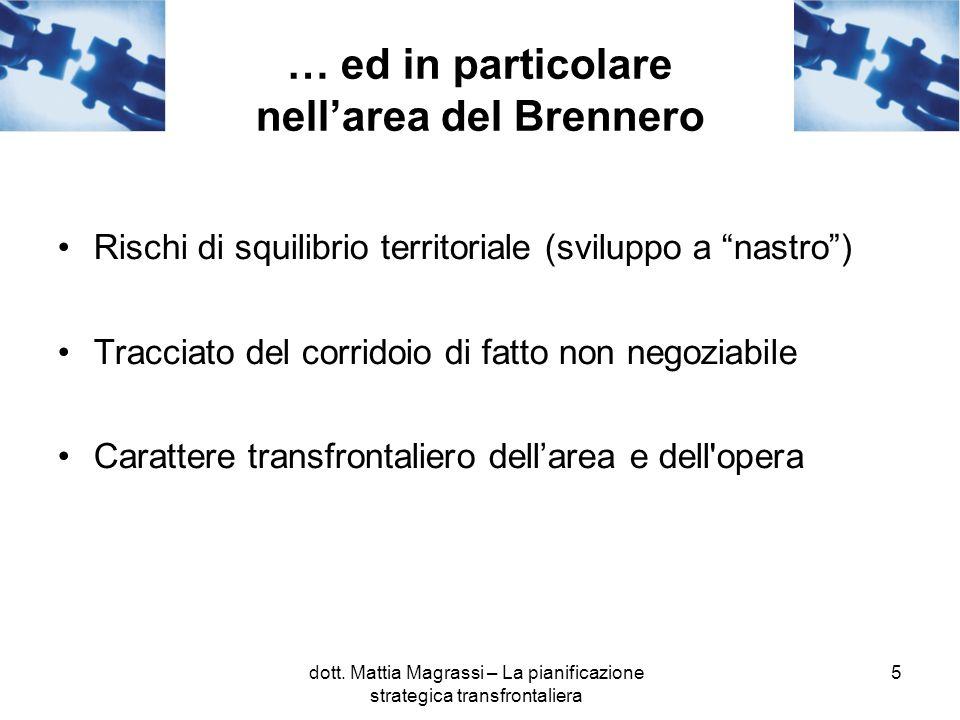5 … ed in particolare nellarea del Brennero Rischi di squilibrio territoriale (sviluppo a nastro) Tracciato del corridoio di fatto non negoziabile Carattere transfrontaliero dellarea e dell opera dott.