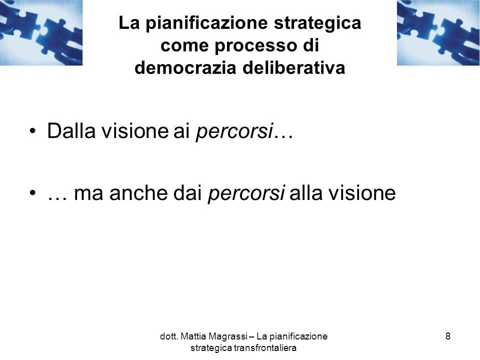 8 La pianificazione strategica come processo di democrazia deliberativa Dalla visione ai percorsi… … ma anche dai percorsi alla visione dott. Mattia M