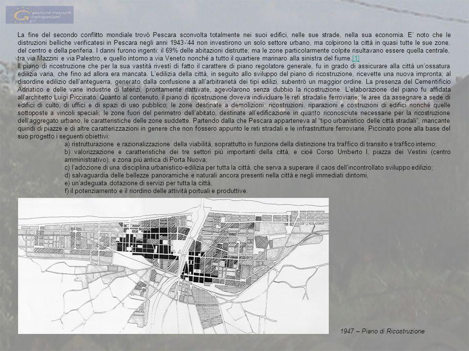 La fine del secondo conflitto mondiale trovò Pescara sconvolta totalmente nei suoi edifici, nelle sue strade, nella sua economia. E noto che le distru