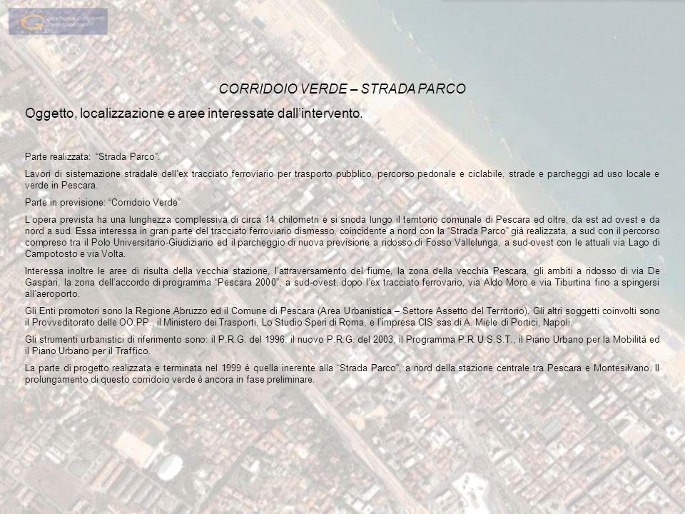 CORRIDOIO VERDE – STRADA PARCO Oggetto, localizzazione e aree interessate dallintervento. Parte realizzata: Strada Parco. Lavori di sistemazione strad