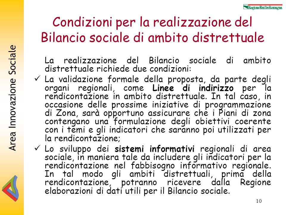 Area Innovazione Sociale 10 Condizioni per la realizzazione del Bilancio sociale di ambito distrettuale La realizzazione del Bilancio sociale di ambito distrettuale richiede due condizioni: La validazione formale della proposta, da parte degli organi regionali, come Linee di indirizzo per la rendicontazione in ambito distrettuale.