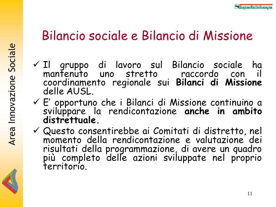 Area Innovazione Sociale 11 Bilancio sociale e Bilancio di Missione Il gruppo di lavoro sul Bilancio sociale ha mantenuto uno stretto raccordo con il coordinamento regionale sui Bilanci di Missione delle AUSL.