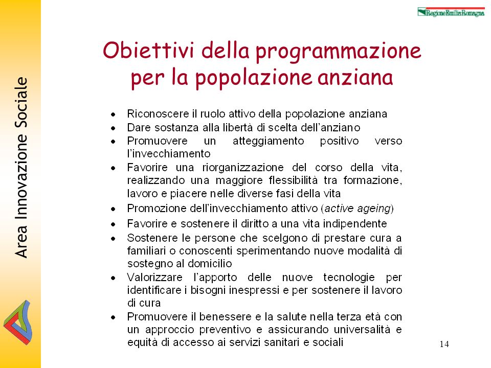 Area Innovazione Sociale 14 Obiettivi della programmazione per la popolazione anziana