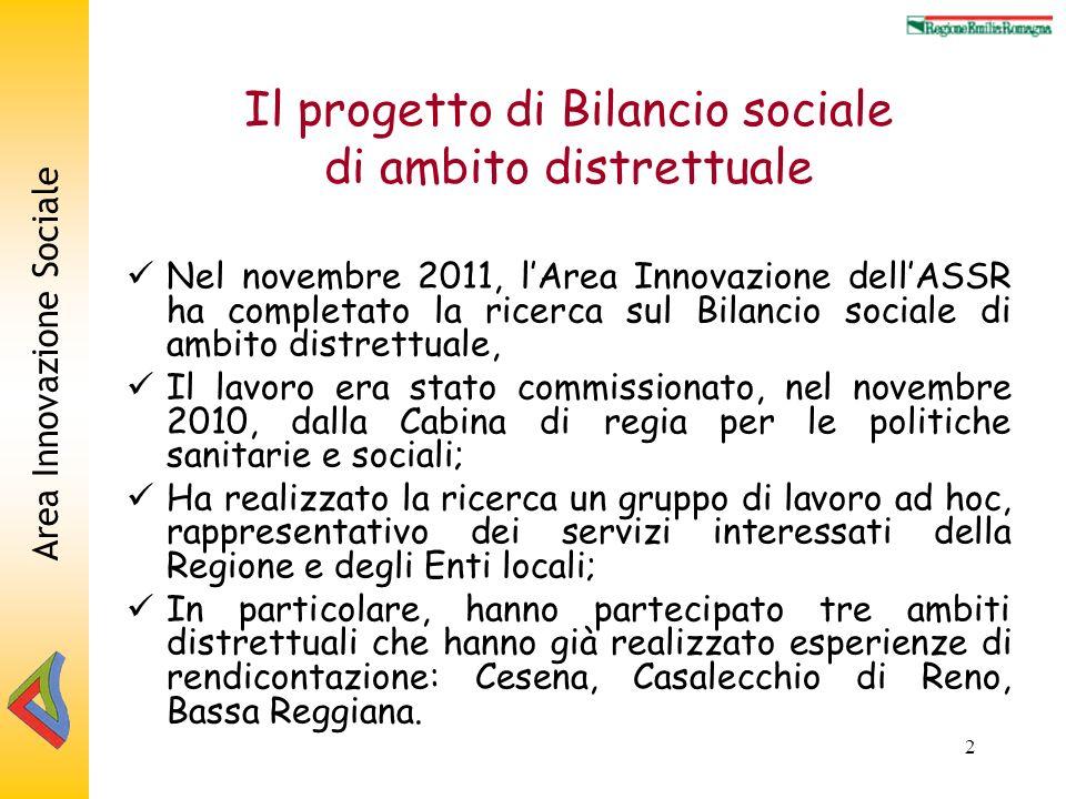 Area Innovazione Sociale 2 Il progetto di Bilancio sociale di ambito distrettuale Nel novembre 2011, lArea Innovazione dellASSR ha completato la ricer