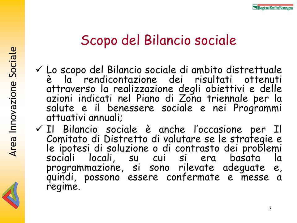 Area Innovazione Sociale 3 Scopo del Bilancio sociale Lo scopo del Bilancio sociale di ambito distrettuale è la rendicontazione dei risultati ottenuti