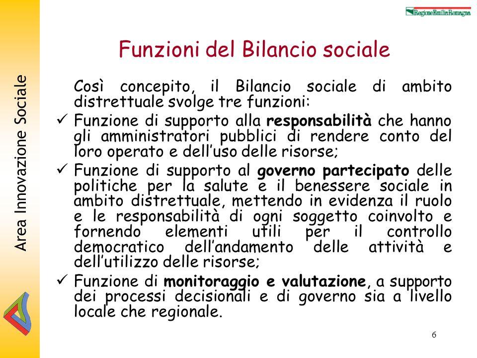 Area Innovazione Sociale 6 Funzioni del Bilancio sociale Così concepito, il Bilancio sociale di ambito distrettuale svolge tre funzioni: Funzione di s