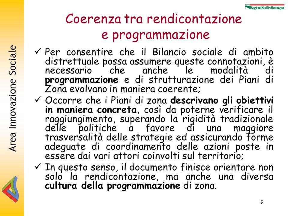 Area Innovazione Sociale 9 Coerenza tra rendicontazione e programmazione Per consentire che il Bilancio sociale di ambito distrettuale possa assumere