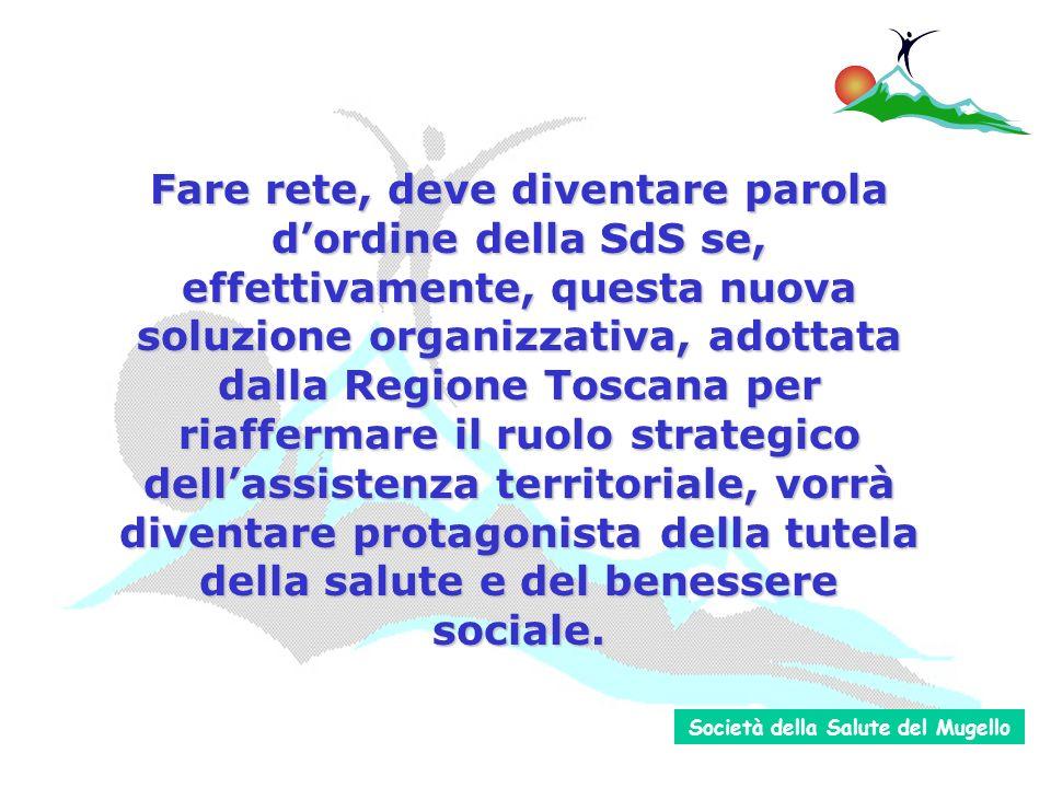 Fare rete, deve diventare parola dordine della SdS se, effettivamente, questa nuova soluzione organizzativa, adottata dalla Regione Toscana per riaffermare il ruolo strategico dellassistenza territoriale, vorrà diventare protagonista della tutela della salute e del benessere sociale.