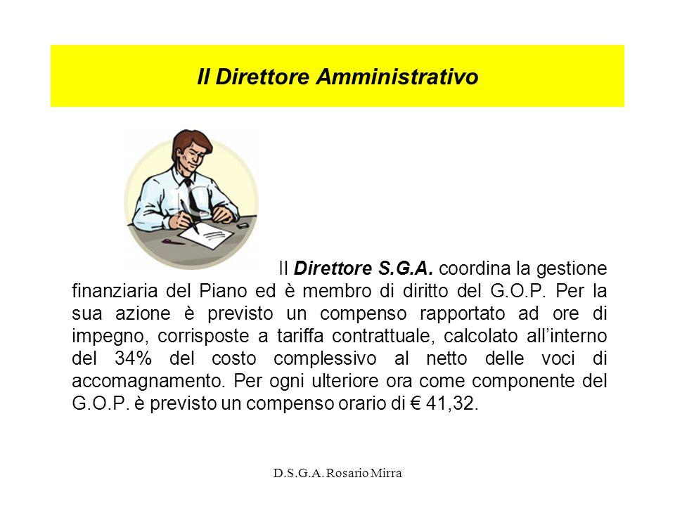 D.S.G.A. Rosario Mirra Il Direttore Amministrativo Il Direttore S.G.A. coordina la gestione finanziaria del Piano ed è membro di diritto del G.O.P. Pe