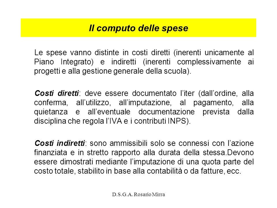 D.S.G.A. Rosario Mirra Il computo delle spese Le spese vanno distinte in costi diretti (inerenti unicamente al Piano Integrato) e indiretti (inerenti