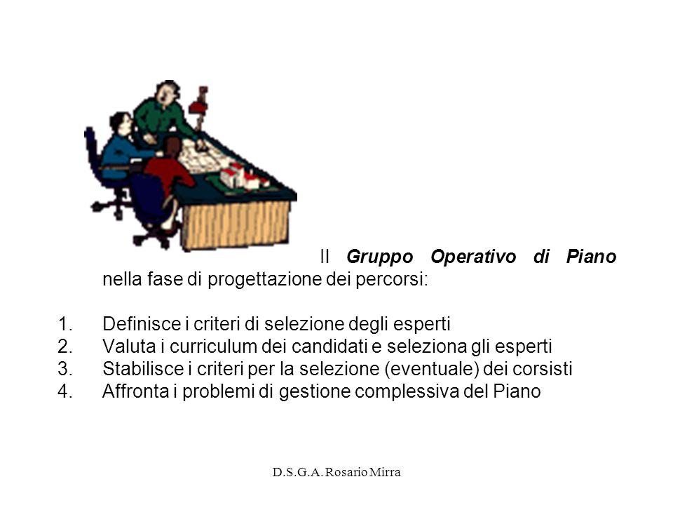 D.S.G.A. Rosario Mirra Il Gruppo Operativo di Piano nella fase di progettazione dei percorsi: 1.Definisce i criteri di selezione degli esperti 2.Valut