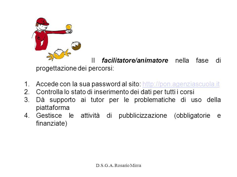 D.S.G.A. Rosario Mirra Il facilitatore/animatore nella fase di progettazione dei percorsi: 1.Accede con la sua password al sito: http://pon.agenziascu