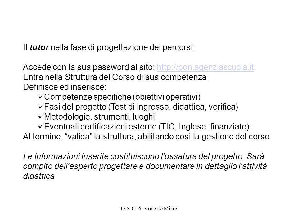D.S.G.A. Rosario Mirra Il tutor nella fase di progettazione dei percorsi: Accede con la sua password al sito: http://pon.agenziascuola.ithttp://pon.ag