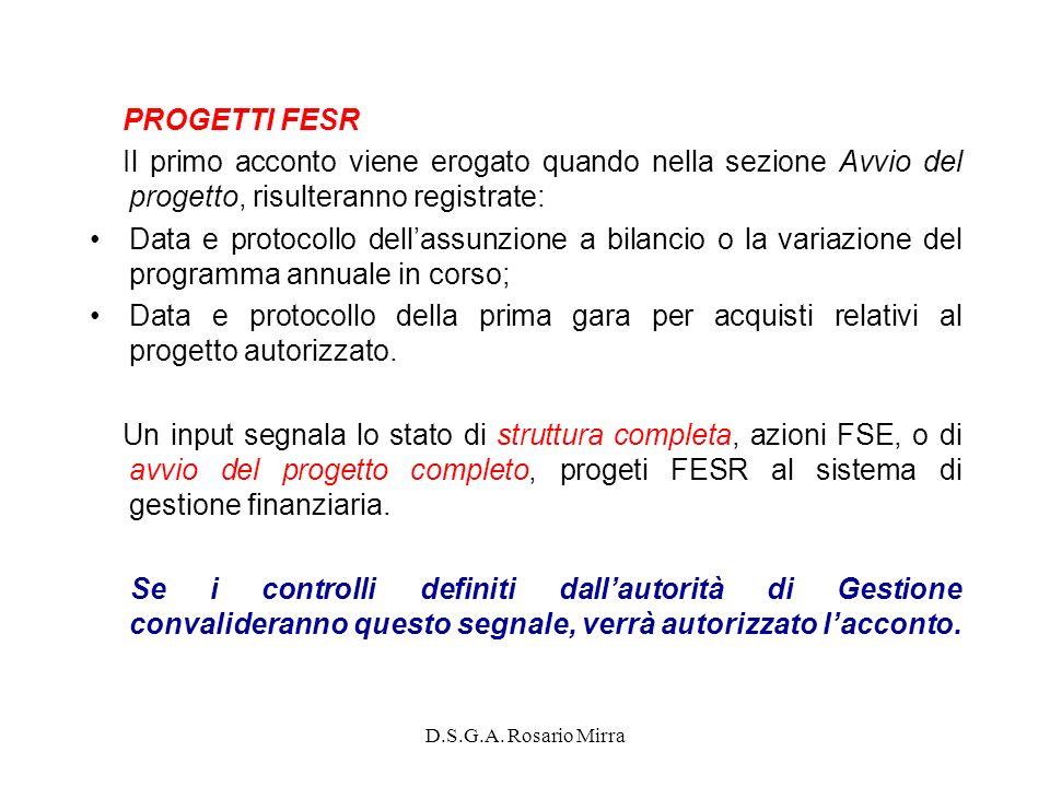 D.S.G.A. Rosario Mirra PROGETTI FESR Il primo acconto viene erogato quando nella sezione Avvio del progetto, risulteranno registrate: Data e protocoll