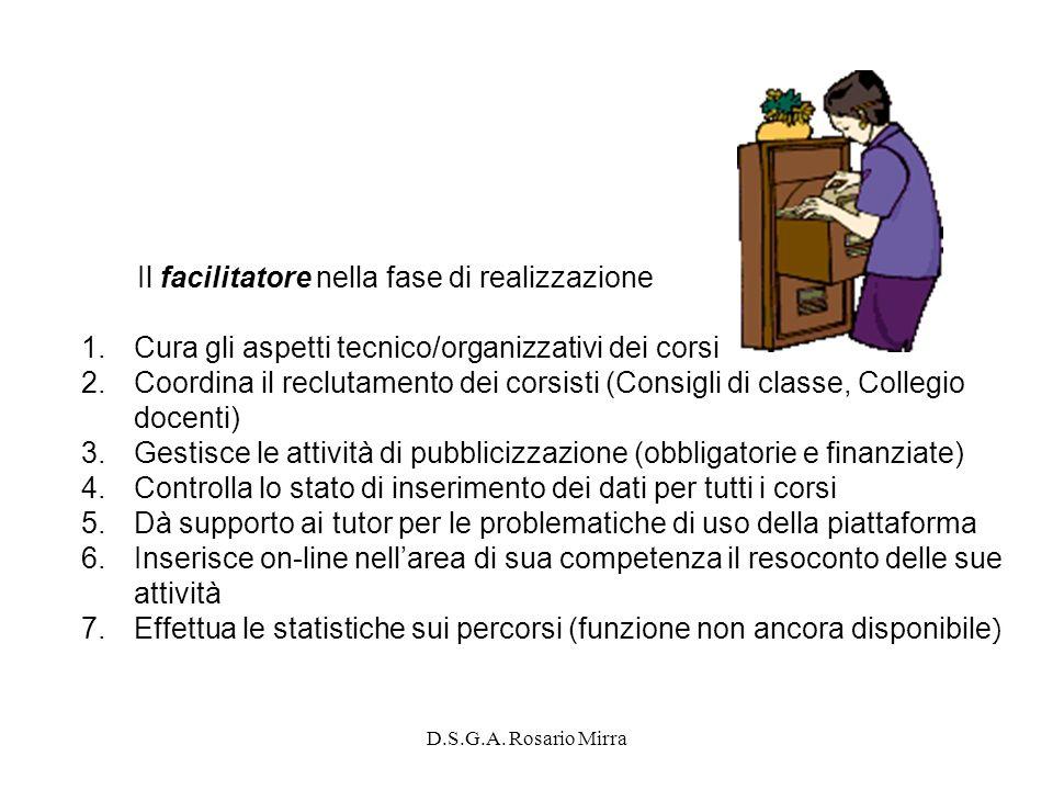 D.S.G.A. Rosario Mirra Il facilitatore nella fase di realizzazione 1.Cura gli aspetti tecnico/organizzativi dei corsi 2.Coordina il reclutamento dei c