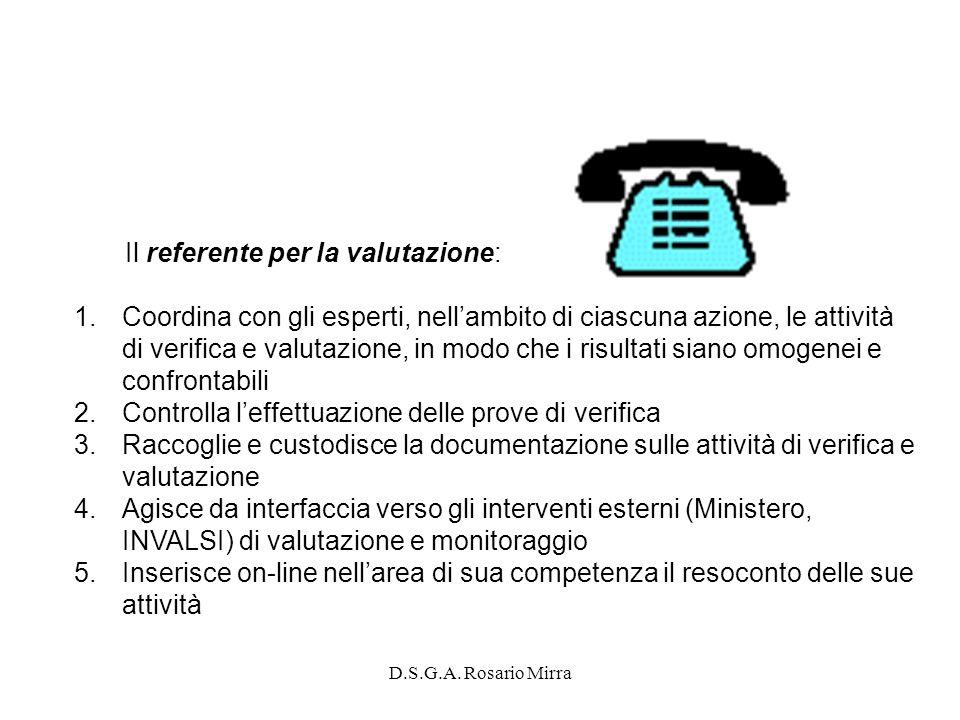 D.S.G.A. Rosario Mirra Il referente per la valutazione: 1.Coordina con gli esperti, nellambito di ciascuna azione, le attività di verifica e valutazio