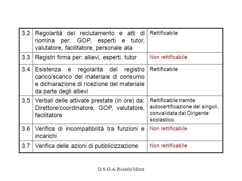 D.S.G.A. Rosario Mirra 3.2Regolarità del reclutamento e atti di nomina per: GOP, esperti e tutor, valutatore, facilitatore, personale ata Rettificabil