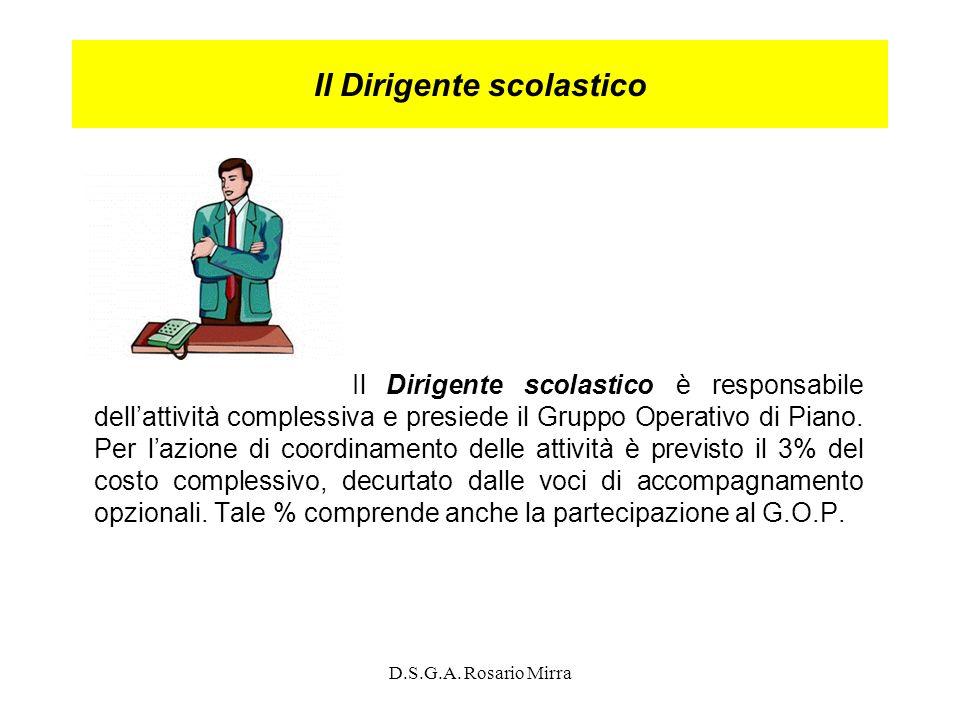 D.S.G.A. Rosario Mirra Il Dirigente scolastico Il Dirigente scolastico è responsabile dellattività complessiva e presiede il Gruppo Operativo di Piano