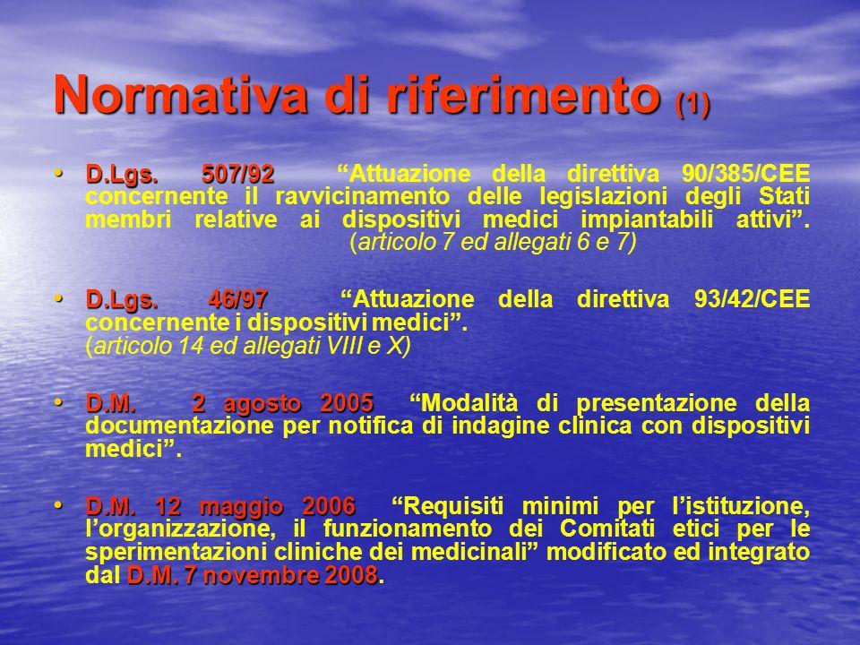 Normativa di riferimento (1) D.Lgs. 507/92 D.Lgs. 507/92 Attuazione della direttiva 90/385/CEE concernente il ravvicinamento delle legislazioni degli