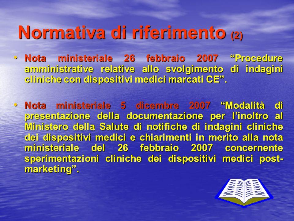 Normativa di riferimento (2) Nota ministeriale 26 febbraio 2007 Procedure amministrative relative allo svolgimento di indagini cliniche con dispositiv