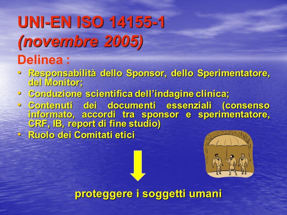 UNI-EN ISO 14155-1 (novembre 2005) Delinea : Responsabilità dello Sponsor, dello Sperimentatore, del Monitor; Responsabilità dello Sponsor, dello Sper