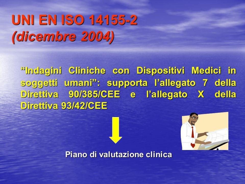 UNI EN ISO 14155-2 (dicembre 2004) Indagini Cliniche con Dispositivi Medici in soggetti umani: supporta lallegato 7 della Direttiva 90/385/CEE e lalle