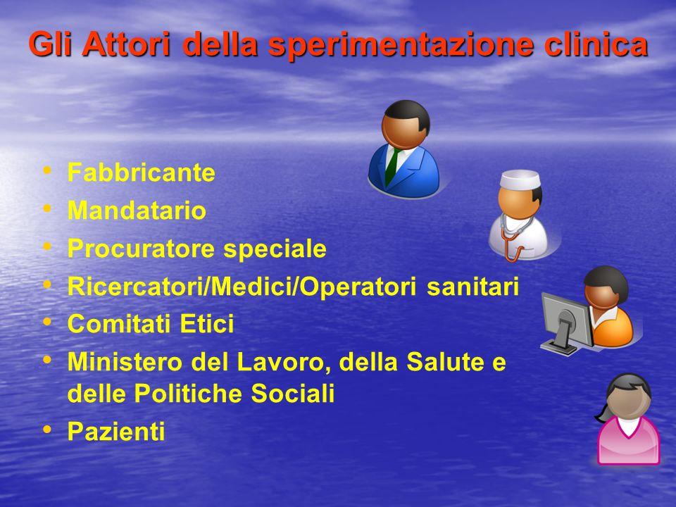 Gli Attori della sperimentazione clinica Fabbricante Mandatario Procuratore speciale Ricercatori/Medici/Operatori sanitari Comitati Etici Ministero de