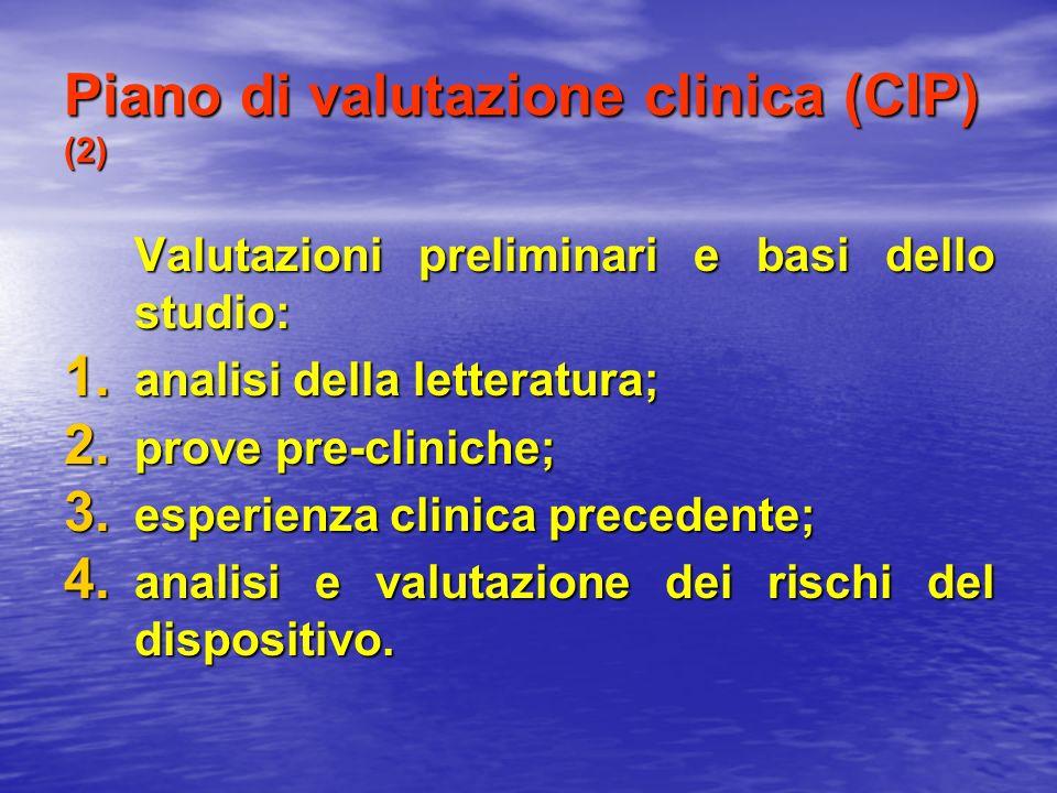 Piano di valutazione clinica (CIP) (2) Valutazioni preliminari e basi dello studio: 1. analisi della letteratura; 2. prove pre-cliniche; 3. esperienza
