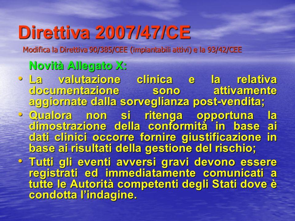 Direttiva 2007/47/CE Novità Allegato X: La valutazione clinica e la relativa documentazione sono attivamente aggiornate dalla sorveglianza post-vendit