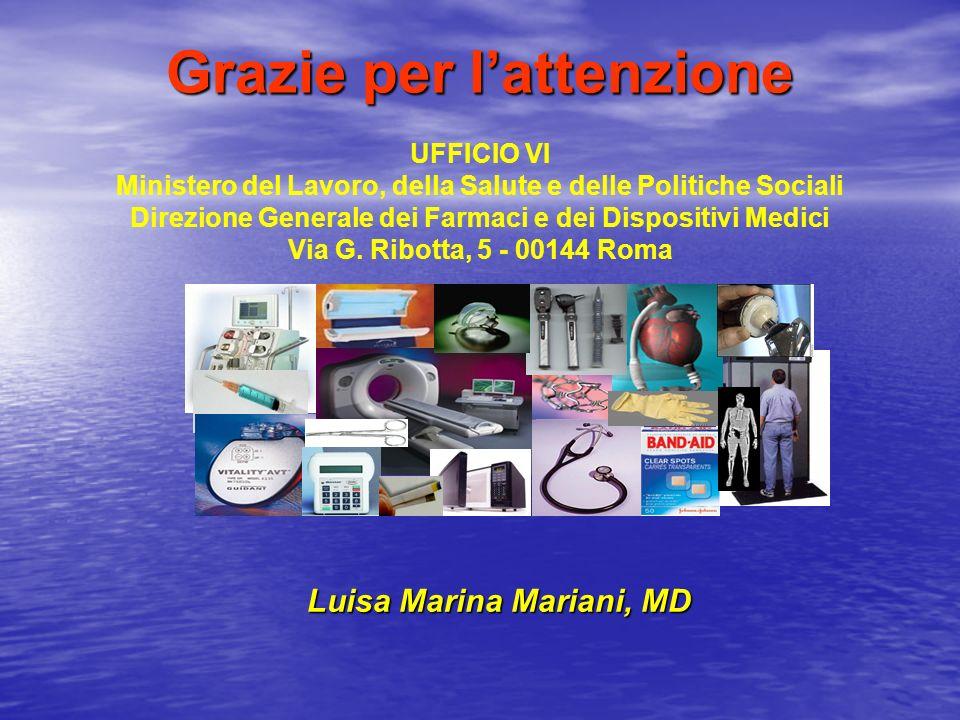 Grazie per lattenzione UFFICIO VI Ministero del Lavoro, della Salute e delle Politiche Sociali Direzione Generale dei Farmaci e dei Dispositivi Medici