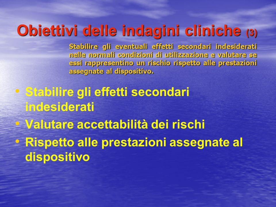 Obiettivi delle indagini cliniche (3) Stabilire gli effetti secondari indesiderati Valutare accettabilità dei rischi Rispetto alle prestazioni assegna