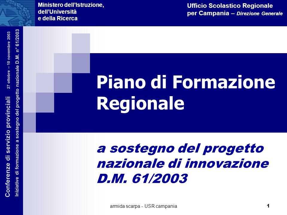 armida scarpa - USR campania 1 Piano di Formazione Regionale a sostegno del progetto nazionale di innovazione D.M. 61/2003 Ministero dellIstruzione, d