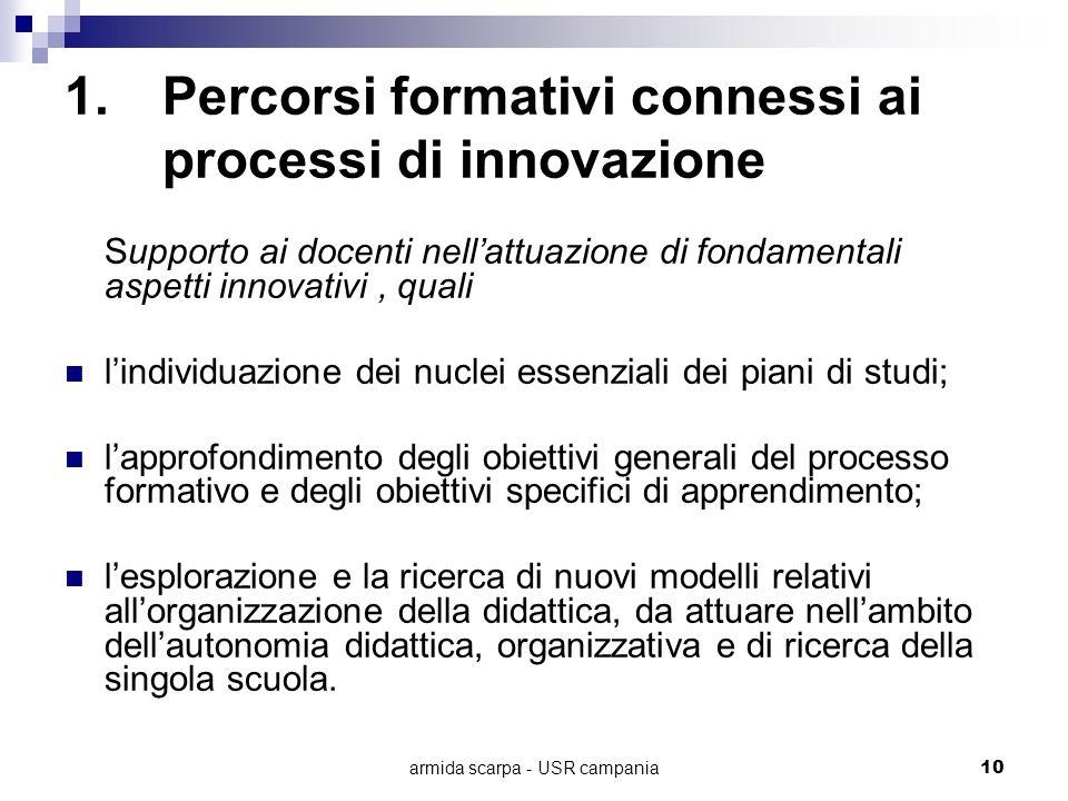 armida scarpa - USR campania10 1.Percorsi formativi connessi ai processi di innovazione Supporto ai docenti nellattuazione di fondamentali aspetti inn