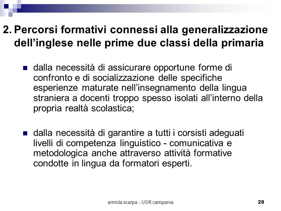 armida scarpa - USR campania28 2.Percorsi formativi connessi alla generalizzazione dellinglese nelle prime due classi della primaria dalla necessità d