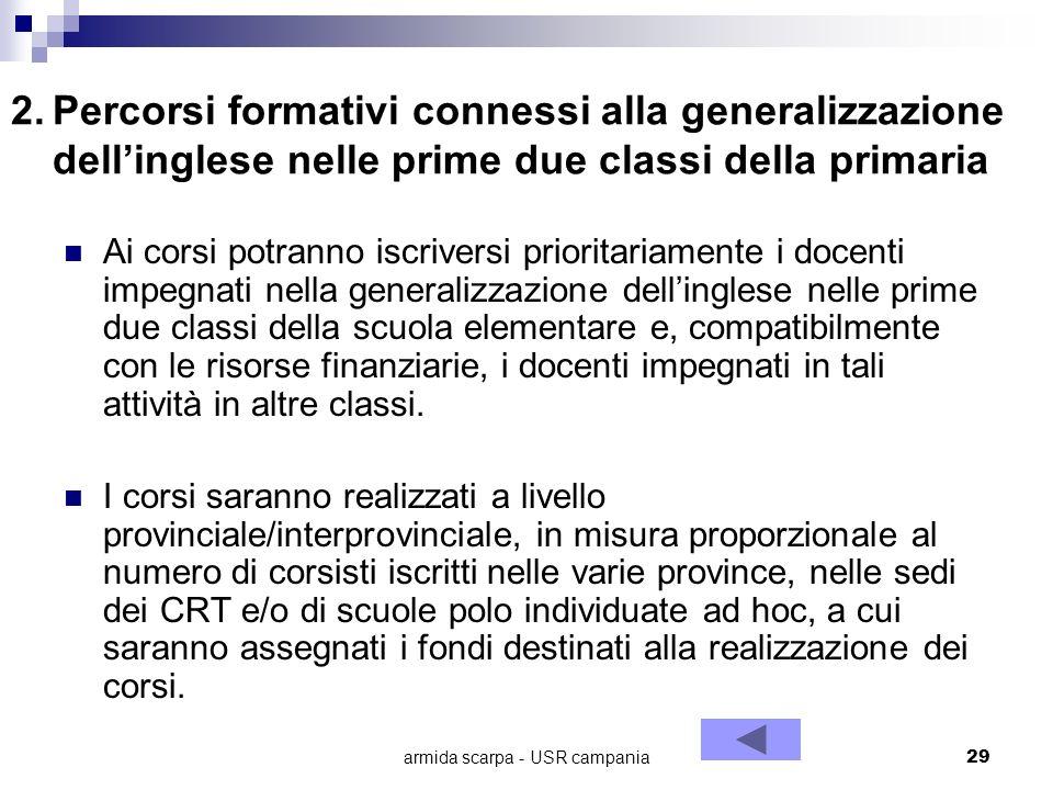 armida scarpa - USR campania29 2.Percorsi formativi connessi alla generalizzazione dellinglese nelle prime due classi della primaria Ai corsi potranno