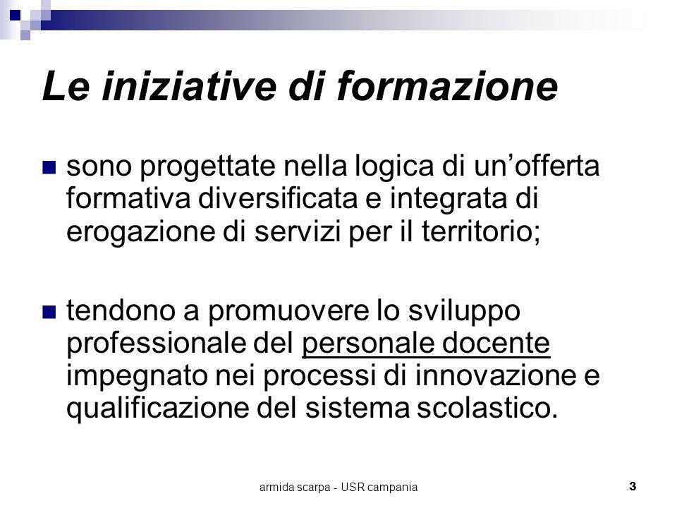 armida scarpa - USR campania3 Le iniziative di formazione sono progettate nella logica di unofferta formativa diversificata e integrata di erogazione
