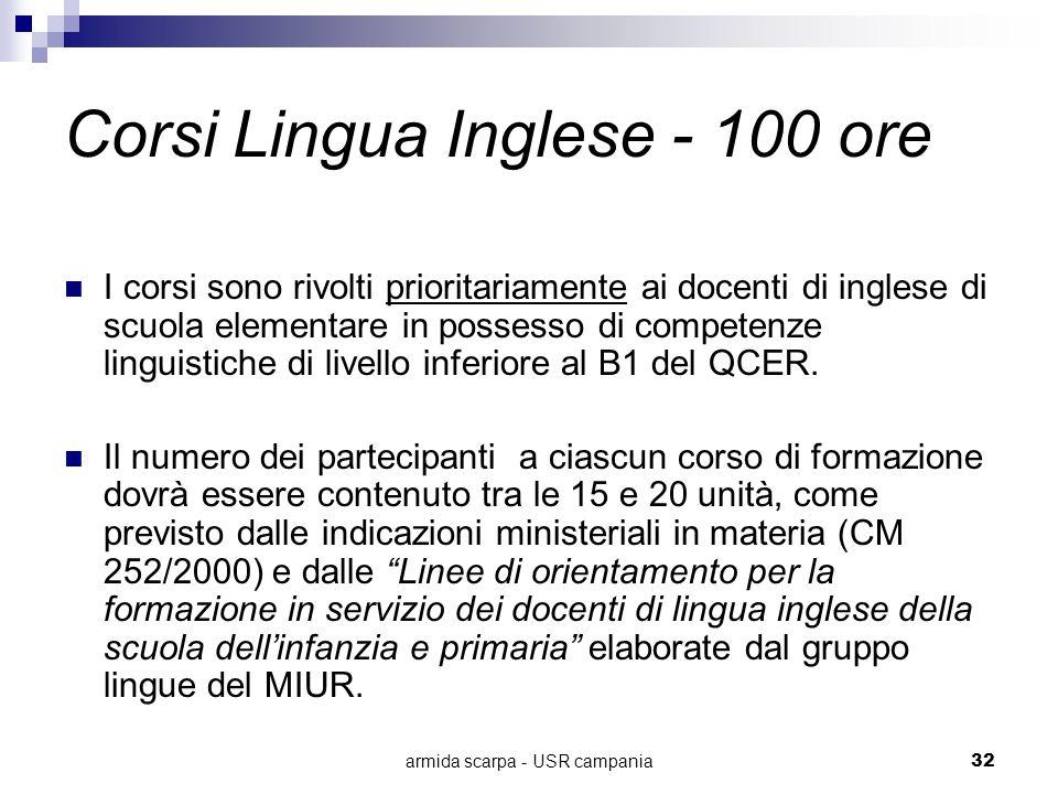 armida scarpa - USR campania32 Corsi Lingua Inglese - 100 ore I corsi sono rivolti prioritariamente ai docenti di inglese di scuola elementare in poss