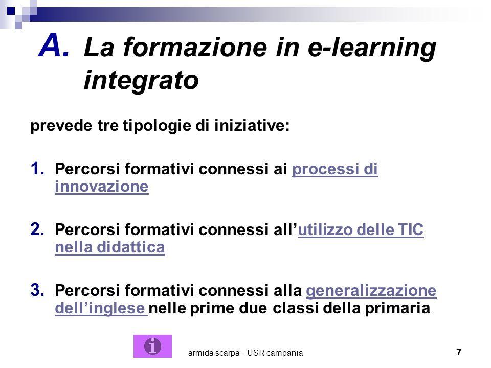 armida scarpa - USR campania7 A. La formazione in e-learning integrato prevede tre tipologie di iniziative: 1. Percorsi formativi connessi ai processi