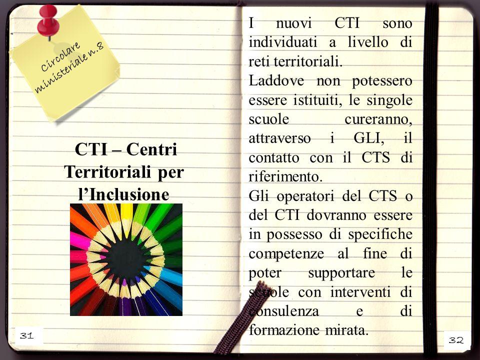31 32 Circolare ministeriale n.8 CTI – Centri Territoriali per lInclusione I nuovi CTI sono individuati a livello di reti territoriali. Laddove non po