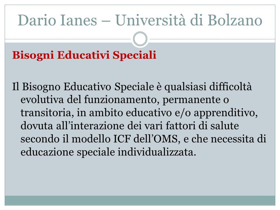 Dario Ianes – Università di Bolzano Bisogni Educativi Speciali Il Bisogno Educativo Speciale è qualsiasi difficoltà evolutiva del funzionamento, perma
