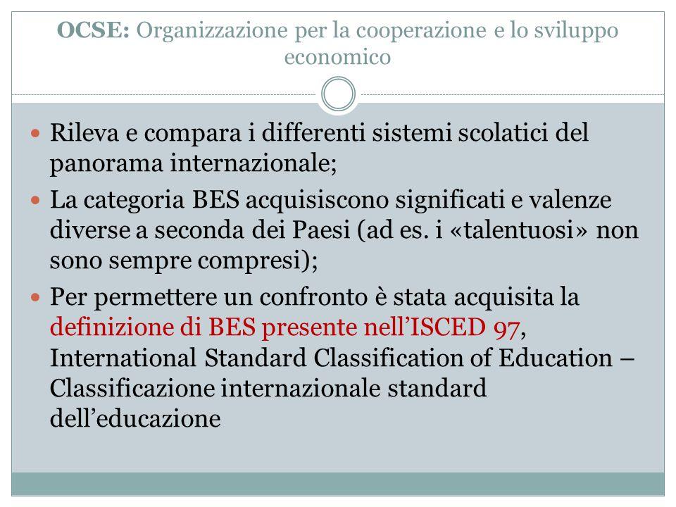 OCSE: Organizzazione per la cooperazione e lo sviluppo economico Rileva e compara i differenti sistemi scolatici del panorama internazionale; La categ