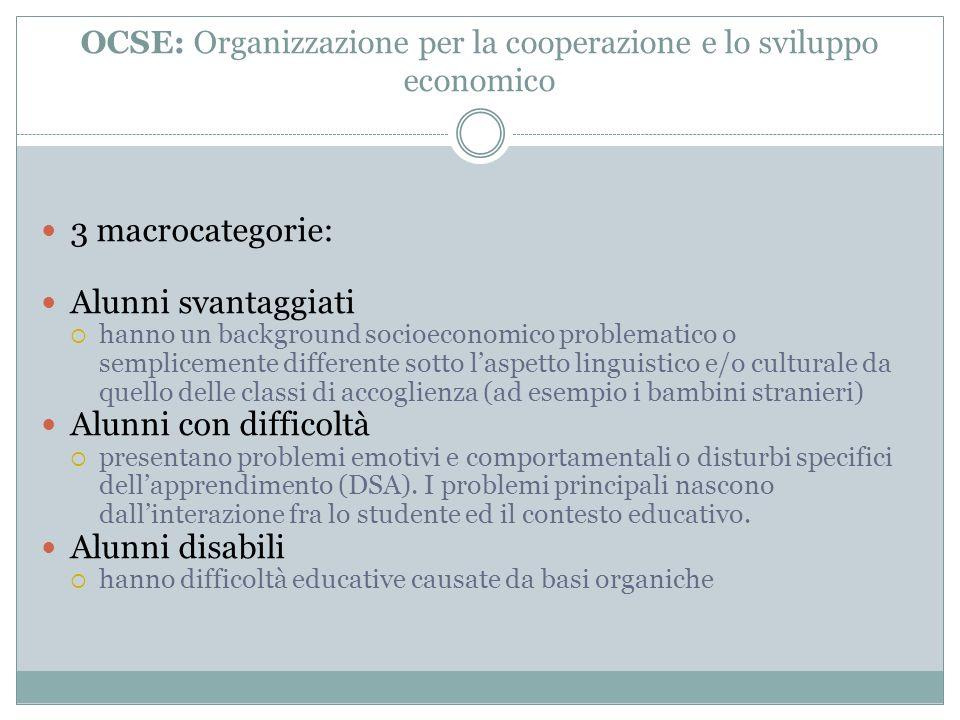 OCSE: Organizzazione per la cooperazione e lo sviluppo economico 3 macrocategorie: Alunni svantaggiati hanno un background socioeconomico problematico