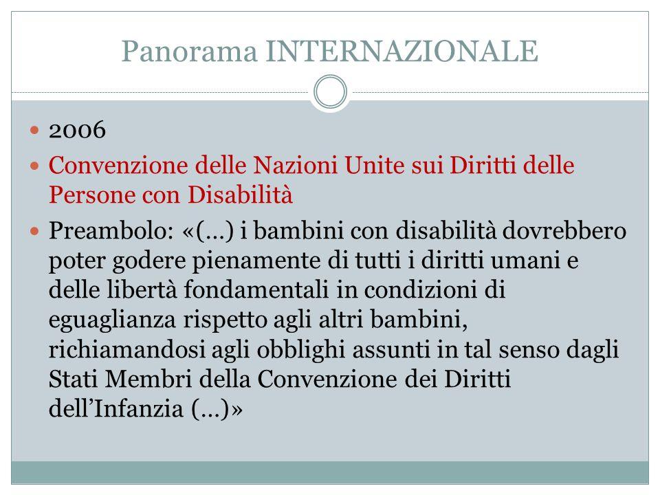 Panorama INTERNAZIONALE 2006 Convenzione delle Nazioni Unite sui Diritti delle Persone con Disabilità Preambolo: «(…) i bambini con disabilità dovrebb