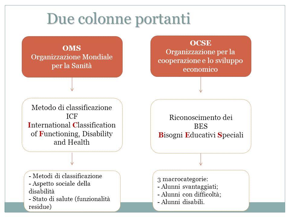 OCSE Organizzazione per la cooperazione e lo sviluppo economico OMS Organizzazione Mondiale per la Sanità Due colonne portanti Riconoscimento dei BES